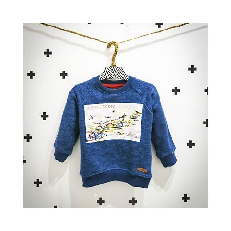 Modrá dětská chlapecká mikina bez kapuce a64a4fcffa