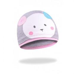 Dívčí kojenecká čepice s medvídkem Yo! - šedá