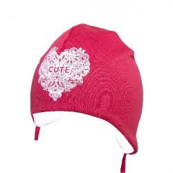 Červená kojenecká čepice na zavazování Yo Cute