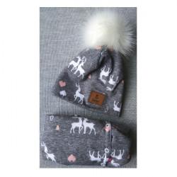 Komplet- zimní prodloužená čepice+nákrčník Renifer