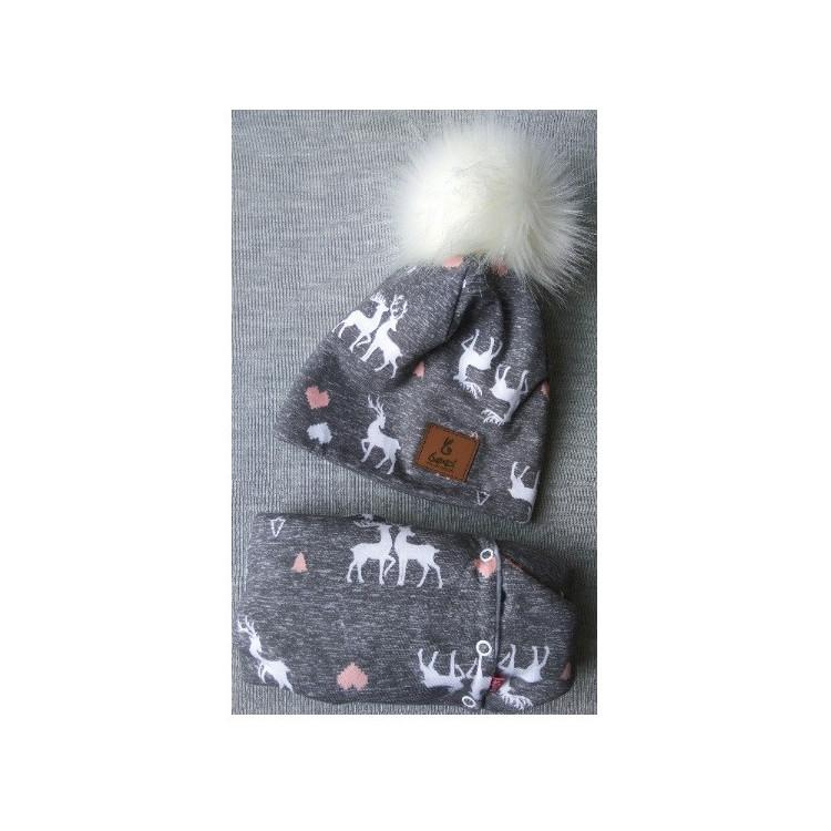 Komplet- zimní čepice a nákrčník Renifer - šedý