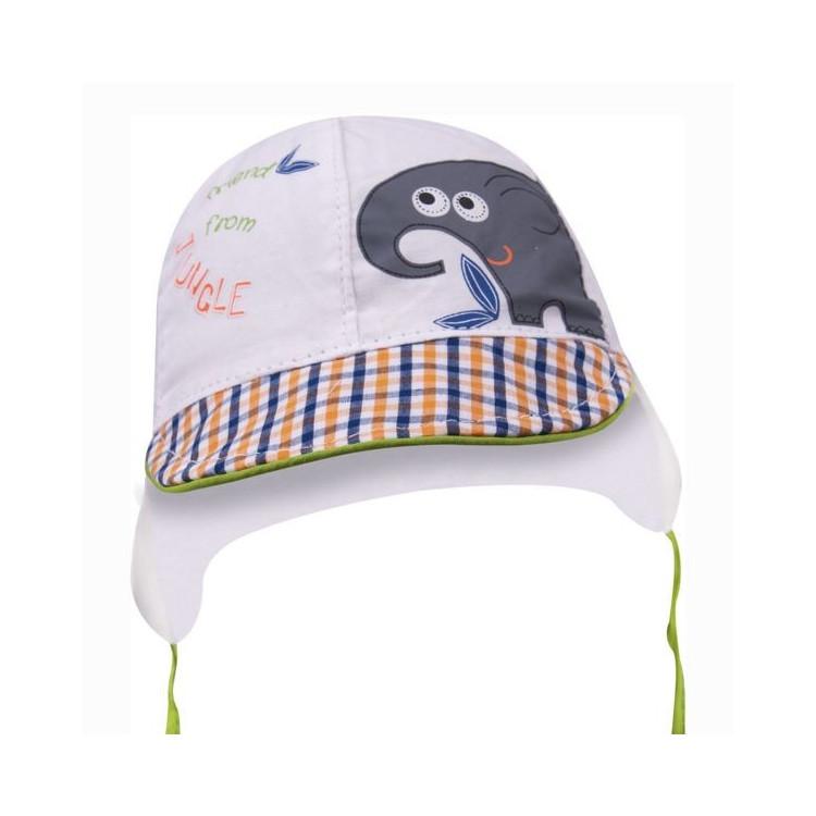 Letní kojenecká čepice s kšiltem Yo! Elephant- bílá