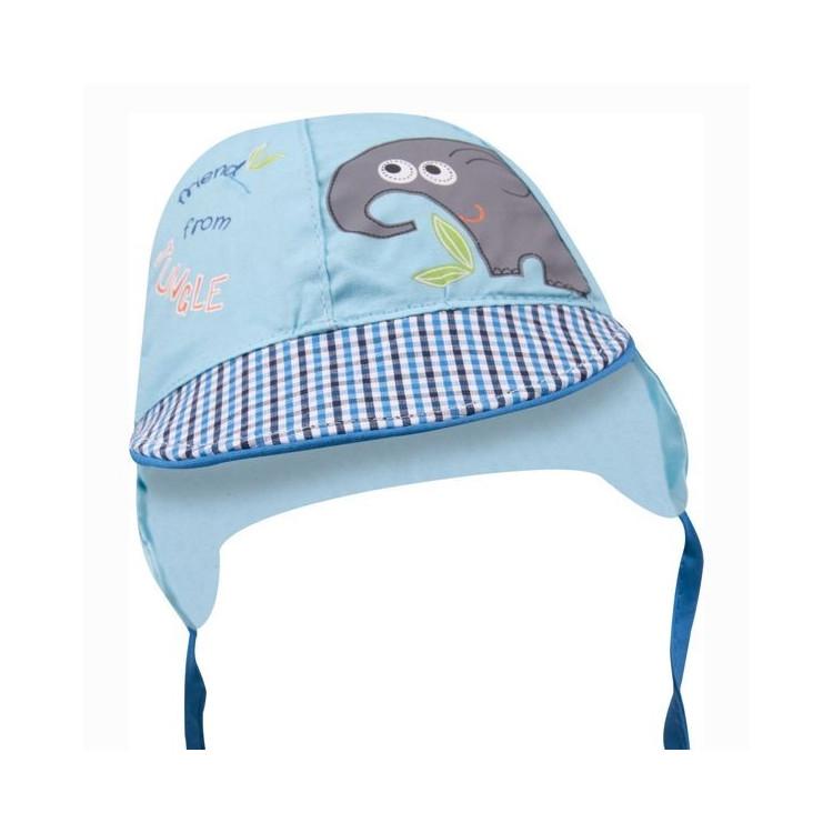 Letní kojenecká čepice s kšiltem Yo! Elephant - tyrkysová