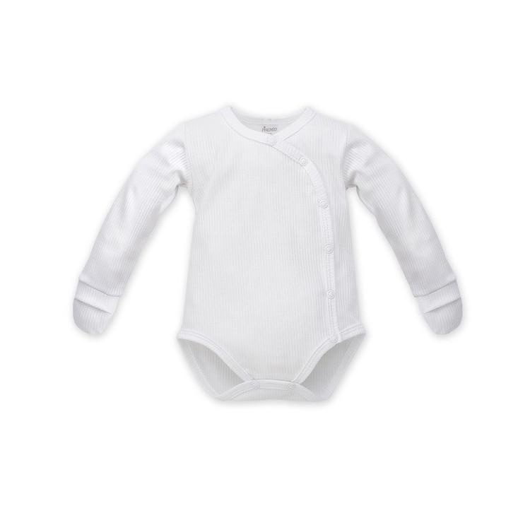 Zavinovací kojenecké body s rukavičkami Pinokio White - bílé