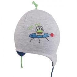 Šedá kojenecká čepice na zavazování Yo! Gwidon