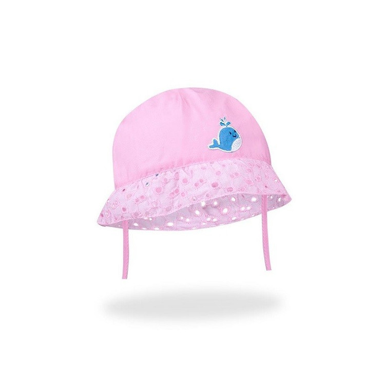 Dívčí letní klobouček na zavazování Yo! Lace in Flowers - růžový