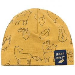 Kojenecká čepice s potiskem Pinokio Secret Forest - žlutá