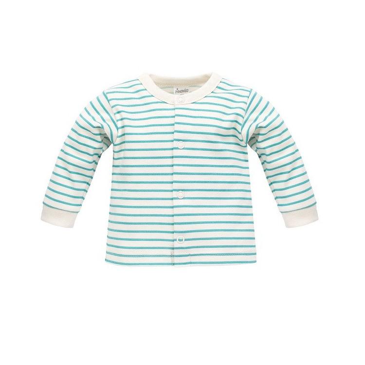 Pruhovaný kojenecký kabátek Pinokio Nice Day - tyrkysový