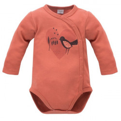 Zavinovací kojenecké body s potiskem Pinokio Little Bird - červené