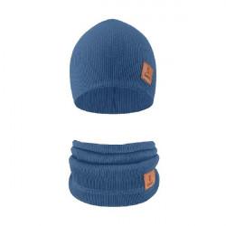 Komplet čepice a nákrčník Alan - indigově modrá