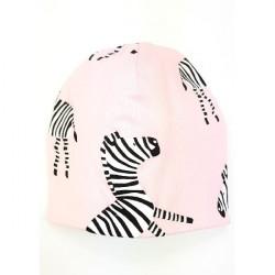 Kojenecká čepice Zebra - světle růžová