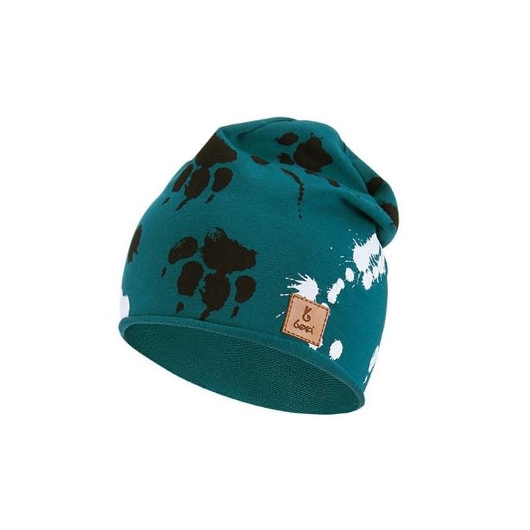 Dětská prodloužená čepice Bexa Tlapky - zelená tyrkysová