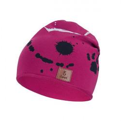 Dětská prodloužená čepice Bexa Tlapky - purpurová